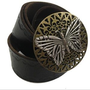 Fossil Brown Leather Belt Metal Butterfly Buckle